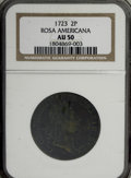 Colonials, 1723 2PENCE Rosa Americana Twopence AU50 NGC....