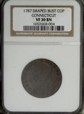 Colonials, 1787 COPPER Connecticut Copper, Draped Bust Left VF30 NGC....