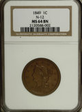 Large Cents, 1849 1C MS64 Brown NGC....