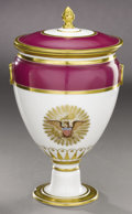 Political:3D & Other Display (pre-1896), American Eagle: Fantastic Early 19th Century Paris Porcelain Lidded Urn....