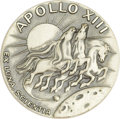 "Explorers:Space Exploration, Apollo 13 ""Flown"" Robbins Silver Medallion, Serial Number 385,..."