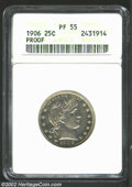 Proof Barber Quarters: , 1906 25C PR55 ANACS. The proof fields are unmistakable, ...