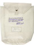 Explorers:Space Exploration, Apollo 16 Lunar Module Flown Beta Cloth Transfer Bag Signed by andfrom the Personal Collection of Lunar Module Pilot Charlie ...