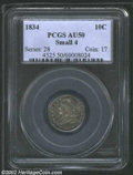 """Bust Dimes: , 1834 10C Small 4 AU50 PCGS. The latest Coin World """"Trends"""" ..."""