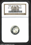 Proof Roosevelt Dimes: , 1999-S 10C Silver PR69 Ultra Cameo NGC. ...
