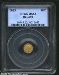 California Fractional Gold: , 1853 50C Liberty Round 50 Cents, BG-409, R.5, MS62 PCGS. ...