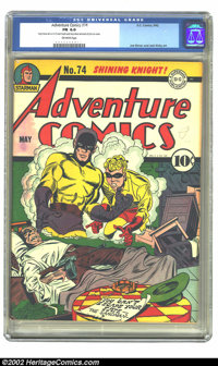 """Adventure Comics #74 (DC, 1942) CGC FN 6.0 Off-white pages. Universal Grade, but CGC notes """"Very minor amount of co..."""
