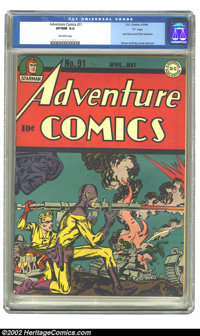 "Adventure Comics #91 ""D"" pedigree (DC, 1944) CGC VF/NM 9.0 Off-white pages. Last Simon and Kirby Sandman. Over..."