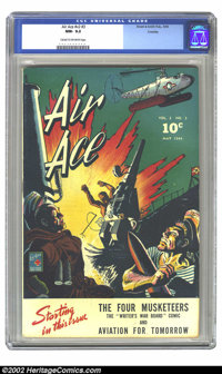 Air Ace V#2 #3 Crowley Pedigree (Street & Smith, 1944) CGC NM- 9.2 Cream to off-white pages. Overstreet 2002 NM 9.4...