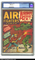 Golden Age (1938-1955):War, Air Fighters Comics vol 1 #9 (Hillman Fall, 1943) CGC FN/VF 7.0 Light tan to off-white pages. Overstreet 2002 FN 6.0 value =...