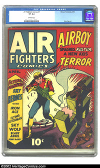 Air Fighters Comics Vol. 1, #7 (Hillman, 1943) CGC VF 8.0 Off-white pages. Overstreet 2002 VF 8.0 value = $625