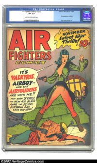 Air Fighters Comics vol. 2 #2 (Hillman Fall, 1943) CGC VF- 7.5 Light tan to off-white pages. First appearance Valkyrie...