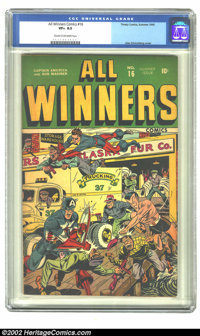 All Winners Comics #16 (Timely, 1945) CGC VF+ 8.5 Cream to off-white pages. Alex Schomburg cover. Overstreet 2002 VF 8.0...