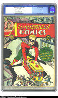 "Golden Age (1938-1955):Superhero, All-American Comics #55 ""D"" Copy pedigree (DC, 1944)CGC VF 8.0 Off-white to white pages. Overstreet 2002 VF 8.0 value = $556..."