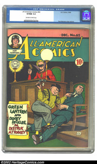 All-American Comics #62 (DC, 1944) CGC VF/NM 9.0 Off-white to white pages. Overstreet 2002 NM 9.4 value = $900