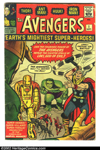 The Avengers #1 (Marvel, 1963) Condition: GD/VG. First issue of the Avengers, featuring Thor, Ant-Man, the Hulk and Iron...