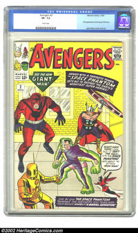 The Avengers #2 (Marvel, 1963) CGC VF- 7.5 White pages. This issue features the first appearance of the Space Phantom. O...
