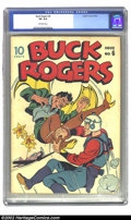 Golden Age (1938-1955):Science Fiction, Buck Rogers #6 (Eastern Color, 1943) CGC VG 4.0 Off-white pages. Overstreet 2002 GD 2.0 value = $95; FN 6.0 value = $285. ...