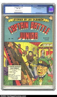 Captain Battle Jr. #2 Pennsylvania pedigree (Lev Gleason, 1944) CGC VF+ 8.5 Off-white to white pages. Basil Wolverton ar...
