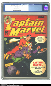 Captain Marvel Adventures #44 (Fawcett, 1945) CGC VF- 7.5 Cream to off white pages. Overstreet 2002 VF 8.0 value = $217...