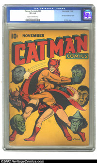 Catman Comics v3 #2 (Holyoke Publications, 1944) CGC VF+ 8.5 Cream to off-white pages. L. B. Cole cover. Overstreet 2002...