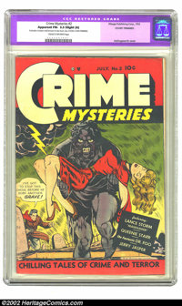 Crime Mysteries #2 (Ribage Publishing, 1952) CGC Apparent FN- 5.5 Slight (A) Cream to off-white pages. Overstreet 2002 F...