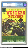 "Silver Age (1956-1969):Western, Dell Giant Comics Western Roundup #22 File Copy (Dell, 1958) CGC NM 9.4 Cream to off-white pages. This issue features ""Wagon..."