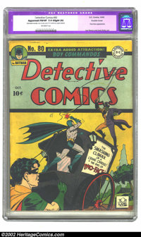 Detective Comics #80 Double Cover (DC, 1943) CGC Apparent FN/VF 7.0 Slight (A) Off-white pages. Restoration includes sta...