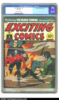 Exciting Comics #14 (Nedor Publications, 1941) CGC VF 8.0 Cream to off-white pages. Overstreet 2002 VF 8.0 value = $381...