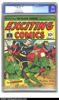 Exciting Comics #18 (Nedor Publications, 1942) CGC VF+ 8.5 Cream to off white pages. Overstreet 2002 VF 8.0 value = $330...