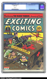 Exciting Comics #31 (Nedor Publications, 1944) CGC VF- 7.5 White pages. Alex Schomburg cover. Overstreet 2002 VF 8.0 val...
