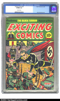 Exciting Comics #33 (Nedor Publications, 1944) CGC VF/NM 9.0 Off-white pages. Alex Schomburg cover. Overstreet 2002 NM 9...