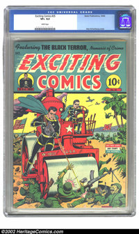 Exciting Comics #35 (Nedor Publications, 1944) CGC VF+ 8.5 White pages. Alex Schomburg cover. Overstreet 2002 VF 8.0 val...