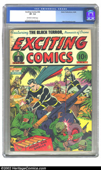 Exciting Comics #36 (Nedor Publications, 1944) CGC VF- 7.5 Off-white to white pages. Alex Schomburg cover. Overstreet 20...