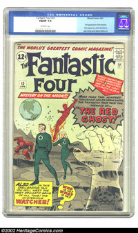 Fantastic Four #13 (Marvel, 1963) CGC FN/VF 7.0 Off white pages. This issue features the first appearance of the Watcher...