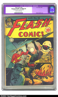 Flash Comics #56 (DC, 1944) CGC Apparent VG/FN 5.0 Slight (P) Cream to off-white pages. Martin Nodell cover. Restoration...