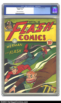 Flash Comics #58 (DC, 1944) CGC FN/VF 7.0 Cream to off-white pages. Overstreet 2002 FN 6.0 value = $252; VF 8.0 value =...