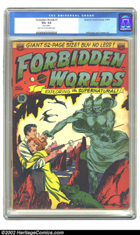 Forbidden Worlds #1 (ACG, 1951) CGC VG+ 4.5 Light tan to off-white pages. This issue has rusted staples. Overstreet 2002...