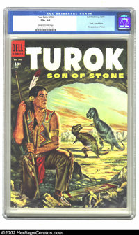Four Color #596 (Dell, 1954) CGC FN+ 6.5 Off-white to white pages. Turok, Son of Stone; First appearance of Turok. Overs...