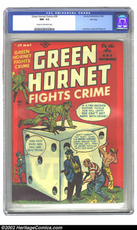 Green Hornet Comics #39 (Harvey, 1948) CGC NM- 9.2 Cream to off-white pages. Overstreet 2002 NM 9.4 value = $525