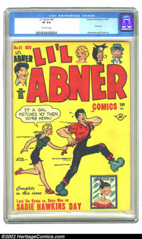 Li'l Abner #61 (Harvey, 1947) CGC VF 8.0 Off-white pages. First issue; Wolverton and Powell art. Overstreet 2002 VF 8.0...