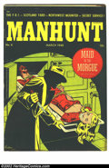 Golden Age (1938-1955):Horror, Manhunt #6 (Magazine Enterprises, 1948) Condition = VG+. Greatbondage cover. Light waterstain at upper right hand corner, o...