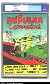 Popular Comics #44 Mile High pedigree (Dell, 1939) CGC VF/NM 9.0 Off-white pages. Overstreet 2002 NM 9.4 value = $285...