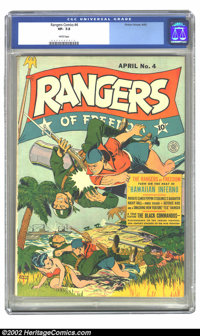 Rangers Comics #4 (Fiction House, 1942) CGC VF- 7.5 White pages. Overstreet 2002 VF 8.0 value = $369