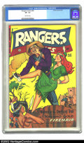 Golden Age (1938-1955):Adventure, Rangers Comics #65 (Fiction House, 1952) CGC VF- 7.5 Off-white pages. Overstreet 2002 VF 8.0 value = $66. ...
