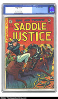 "Golden Age (1938-1955):Western, Saddle Justice #6 (EC, 1949) CGC VF 4.0 Light tan to off-white pages. CGC notes: ""Name written on 1st page in pencil"". Ingel..."
