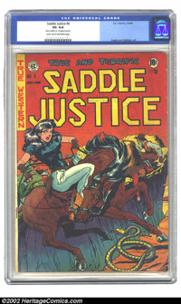 """Saddle Justice #6 (EC, 1949) CGC VF 4.0 Light tan to off-white pages. CGC notes: """"Name written on 1st page in penci..."""