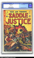 Golden Age (1938-1955):Western, Saddle Justice #7 (EC, 1949) CGC FN- 5.5 Cream to off-white pages. Graham Ingels cover and art. Overstreet 2002 FN 6.0 value...