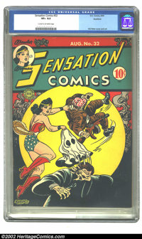 Sensation Comics #32 Rockford pedigree (DC, 1944) CGC VF+ 8.5 Cream to off-white pages. Overstreet 2002 VF 8.0 value = $...