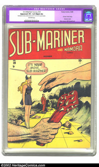 "Sub-Mariner Comics #29 (Timely, 1948) CGC Apparent VF+ 8.5 Slight (A) Off-white pages. CGC notes: ""Restoration incl..."